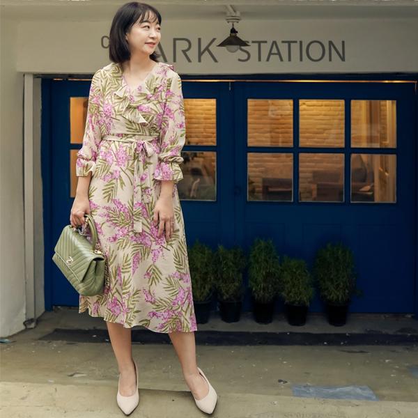 洋裝 韓國直送‧印花荷葉綁帶長袖長洋裝-Ruby s 露比午茶
