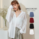 長袖 襯衫 Space Picnic|素面雪紡紗透膚長袖襯衫(現貨)【C19061004】