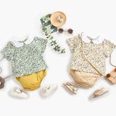 日系圓領花朵兩件式套裝 嬰兒服 短袖上衣