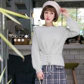 東京著衣-多色浪漫甜心綁帶絨毛上衣(172931)