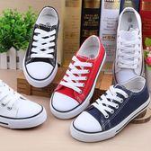 兒童親子休閒鞋大童低幫帆布鞋男童女童系帶黑白布鞋學生平底童鞋