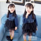 童裝潮範童裙女童春裝紗裙新款中小童兒童牛仔拼接洋裝【快出】