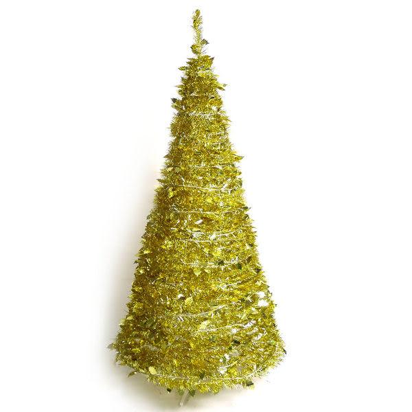 6尺/6呎(180cm) 創意彈簧摺疊聖誕樹 (金色系)(本島免運費)