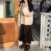 長袖毛衣外套女潮ins秋季新款2020韓版開衫上衣配針織半身裙套裝【快速出貨】