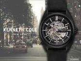 【時間道 】KENNETH COLE 俐落型男機械鏤空腕錶/黑面黑皮(KC50064001)免運費