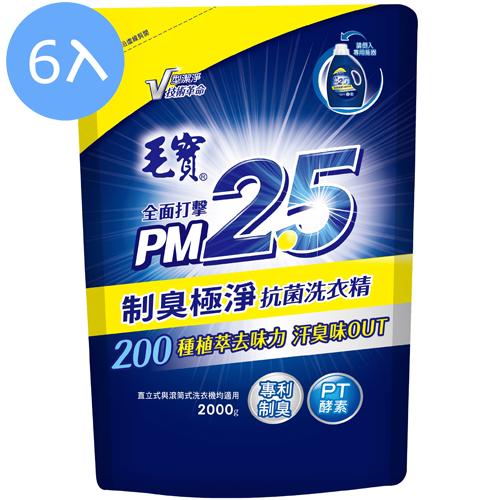 【6入】毛寶 PM2.5 制臭極淨 抗菌洗衣精 補充包 2000g