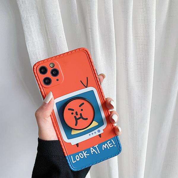 搞怪表情 iPhone SE2 XS Max XR i7 i8 plus 手機殼 保護鏡頭 相框邊框 伸縮摺疊 影片支架 全包邊軟殼