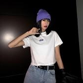 短款上衣女夏潮bm修身顯瘦露腰打底泫雅風高腰露臍短袖t恤