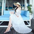 波希米亞長裙-海邊渡假雪紡露肩洋裝2色73sg39[巴黎精品]