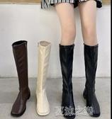 長筒靴女 加絨騎士靴冬季新款筒靴側拉鏈高筒顯瘦長筒靴女不過膝長靴女 快速出貨