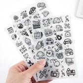【BlueCat】日常小物巴黎鐵塔 黑白手帳貼紙 (6入裝)