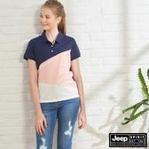 【JEEP】女裝 斜深拼接短袖POLO衫-深藍