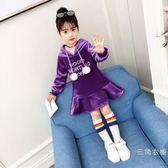 女童長袖洋裝冬裝韓版公主裙中大童雙面絨秋冬季裙子加厚衛衣裙