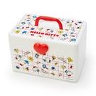 小禮堂 Hello Kitty 方形塑膠手提收納箱 工具箱 藥箱 針線箱 (紅白 格線) 4550337-73851