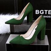 性感尖頭粗跟鞋 高跟名媛氣質鞋 絨面鞋子【多多鞋包店】z6984