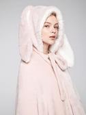 懶人披肩 長耳朵兔子連帽斗篷女冬加厚保暖法蘭絨可愛披肩披風懶人毯子睡袍 【全館免運】
