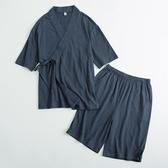 日式睡衣女夏薄款純棉和服情侶款短袖和風日系男士夏天家居服套裝 有緣生活館