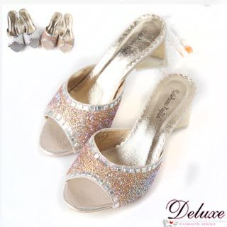 Deluxe-Bling閃亮水晶加厚乳膠墊粗跟涼鞋-二色