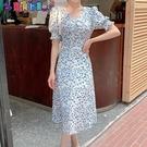 短袖洋裝 夏裝2021年新款茶歇法式碎花雪紡連身裙子夏季大碼女裝微胖mm長裙 新品新品