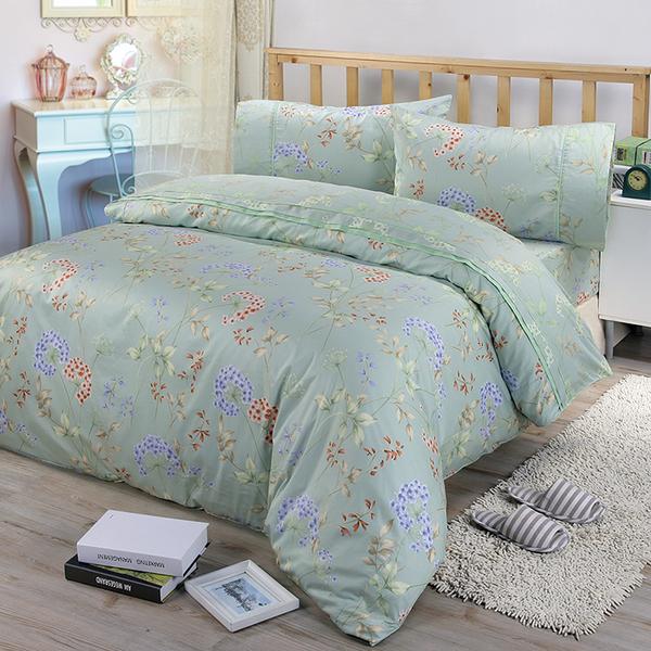 【FITNESS】精梳棉單人三件式被套床包組-芙若拉(綠)_TRP多利寶
