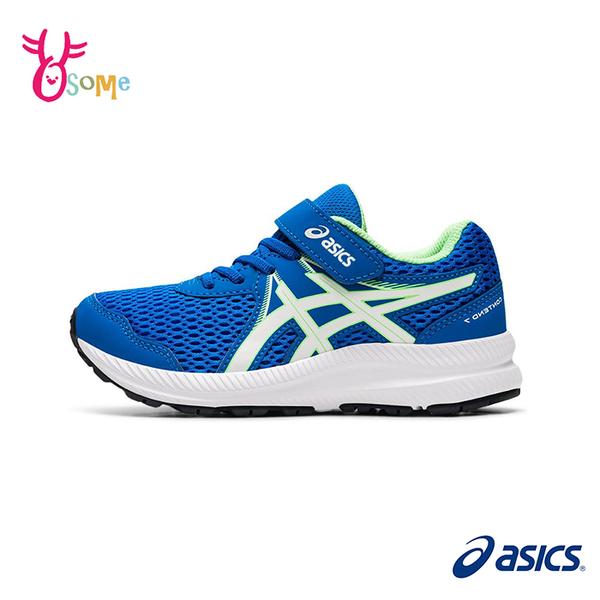 ASICS童鞋 男童慢跑鞋 CONTEND 7 PS 跑步鞋 透氣網布 魔鬼氈運動鞋 亞瑟士 D9105#藍綠◆奧森
