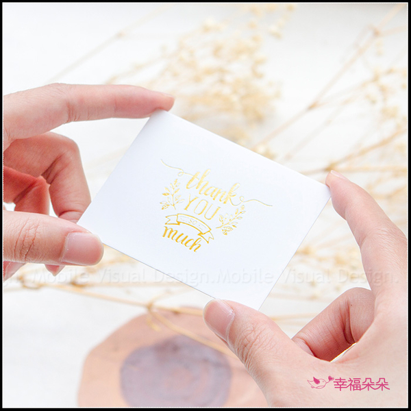 現貨 簡約燙金小卡片 - 感謝 6X8cm (單張 - 正面燙金 背面空白) 祝福卡 感謝卡片 包裝DIY裝飾賀卡