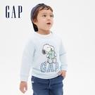Gap男幼童 LOGO史努比印花圓領長袖T恤 617899-雲朵藍