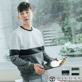 【OBIYUAN】針織衫 韓國製 內絨毛 撞色拚接 長袖上衣 共2色【BM98】