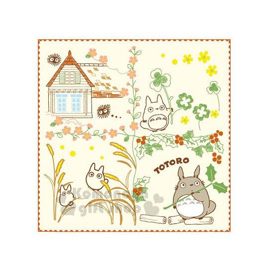〔小禮堂〕宮崎駿 Totoro 龍貓 小方巾《米黃.春天.龍貓.紅邊》25x25cm 4992272-64891