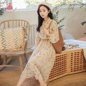 春季復古杏色掛脖束腰帶顯瘦微透雪紡印花洋裝連身裙女 巴黎時尚生活