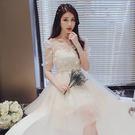 伴娘服 韓式伴娘團禮服短款香檳色