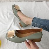 淺口單鞋春季百搭平底大碼奶奶鞋粗跟中跟晚晚仙女豆豆鞋