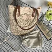 購物包 夏日蕾絲唯美森系單肩包 手提女士購物袋 果果輕時尚