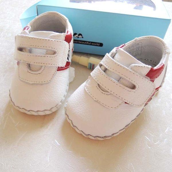 全軟真皮紅白黏貼休閒鞋 學步鞋 童鞋 室內鞋 0~24M(學走穿) 牛皮+防滑片底 橘魔法 小童布鞋 童裝