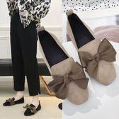 平底包鞋.甜美大蝴蝶結絨面平底包鞋.白鳥麗子