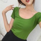 姍色夏季清爽綠大圓領性感露背修身顯瘦U領半袖體恤基礎短袖T恤女