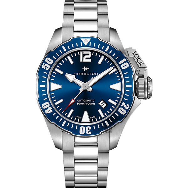 Hamilton 漢米爾頓 卡其海軍系列蛙人潛水機械錶-藍x銀/42mm H77705145