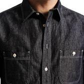 【全館八九折】簡木男裝春新款男士後背刺繡印花棉麻長袖修身牛仔襯衫潮