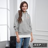 【JEEP】女裝 美式休閒假兩件式長袖帽TEE (灰)