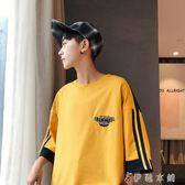 衣服短袖T恤男韓版潮流五分袖蝙蝠衫七分7分袖寬鬆 伊鞋本鋪