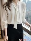 雪紡衫 洋氣減齡上衣百搭2021年春款白色襯衫女設計感小眾長袖領帶雪紡衫 愛丫 新品