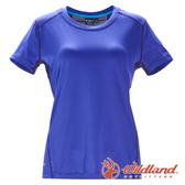 【wildland 荒野】女彈性條紋拼接圓領上衣『藍紫』0A71617 T恤 上衣 休閒 抗紫外線 吸濕 排汗 印花