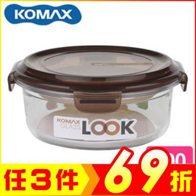 韓國 KOMAX 巧克力圓形強化玻璃保鮮盒800ml 59078【AE02255】99愛買生活百貨