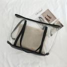 透明包包女潮夏塑膠手提包單肩子母包沙灘包亞麻托特大包 蜜拉貝爾