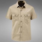 短袖 新款戰術短袖襯衫夏季男純棉襯衣薄款休閒大碼寬鬆中青年工裝半袖