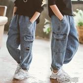 兒童裝男童牛仔褲秋冬裝新款中大童洋氣寬鬆工裝褲加絨長褲潮 快速出貨 快速出貨