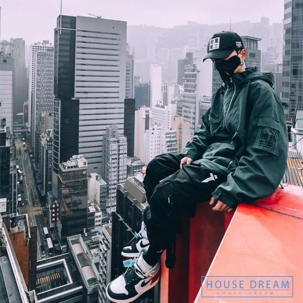 工裝風衣男 工裝外套空軍飛行夾克織帶寬鬆嘻哈機能風衣潮牌男 HD
