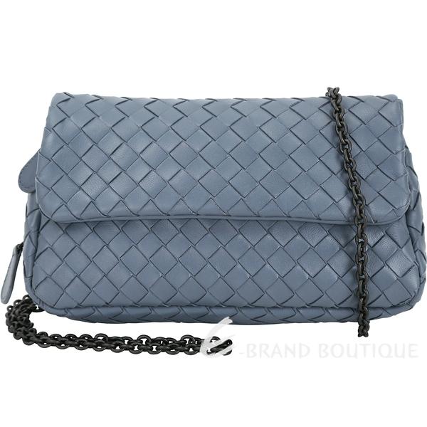 BOTTEGA VENETA NAPPA 小羊皮編織迷你鍊帶包(岩灰藍) 1430111-59