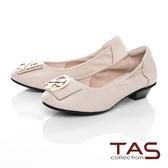 TAS造型飾釦拼接鬆緊帶娃娃鞋-質感米