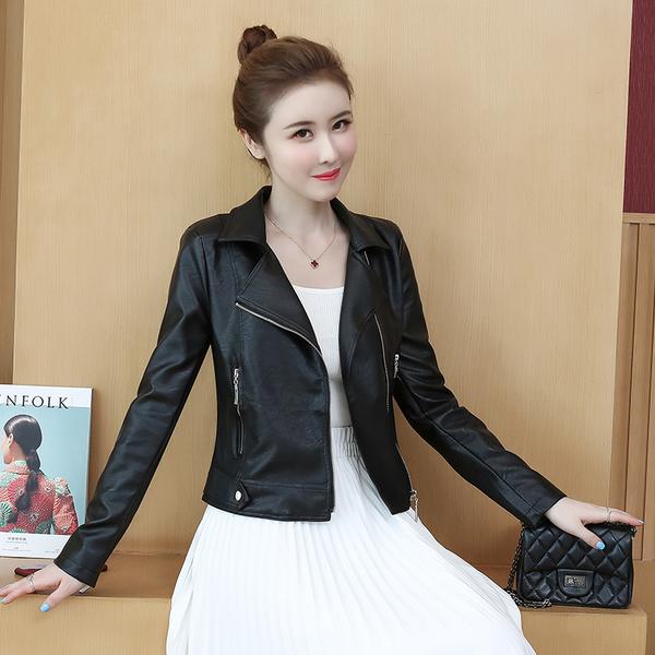 VK旗艦店 韓國風機車小皮衣短款修身立領單品皮外套